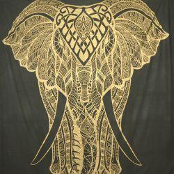 Narzuta bawełniana - majestatyczny słoń - grafit ze złotem