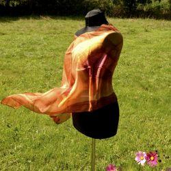 Apaszka woal jedwabny - szmaragdowa impresja