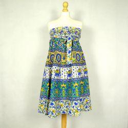 Spódnica - indyjska  kopertowa - krótka - zieleń z żółtym
