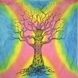 Narzuta bawełniana z frędzlami - mądre drzewo - tęcza