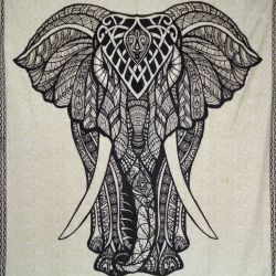 Narzuta bawełniana - makata - czarny słoń - ecru