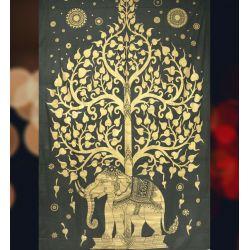 Obrus - makata - słoń w ogrodzie - grafit ze złotem
