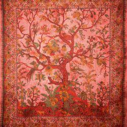 Narzuta bawełniana - drzewo życia - malinowa czerwień
