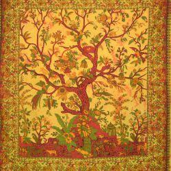 Narzuta bawełniana - drzewo życia - słoneczny żółty
