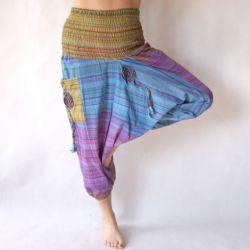 Spodnie bawełniane - szarawary z kieszeniami - turkusy z zielenią
