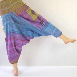 Spodnie bawełniane - szarawary z kieszeniami - fiolety z zielenią