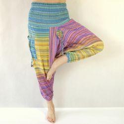 Spodnie bawełniane - szarawary z kieszeniami - wrzosy z żółtym i turkusem