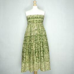 Spódnica indyjska - kopertowa - długa - zielone paisley
