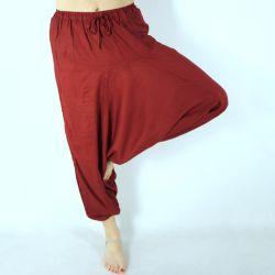 Spodnie szarawary - z kieszenią i troczkiem - bordowy rayon