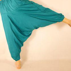 Spodnie szarawary - z kieszenią i troczkiem - ciemny szmaragdowy rayon