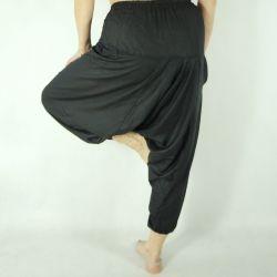 Spodnie szarawary - z kieszenią i troczkiem - czarny rayon