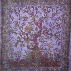 Narzuta bawełniana - drzewo życia - łagodny fiolet