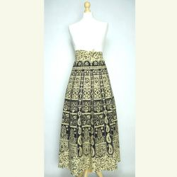 Spódnica indyjska - kopertowa - długa - czarne paisley