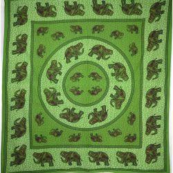 Narzuta bawełniana - słonie - zielona mandala