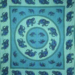 Narzuta bawełniana - słonie - lazurowa mandala
