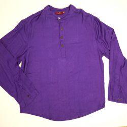 Koszula męska ze stójką - fioletowy rayon