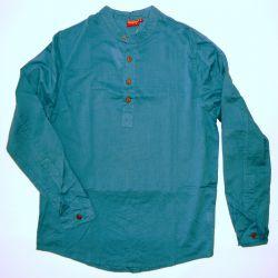Koszula męska ze stójką - ciemna morska bawełna