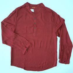 Koszula męska ze stójką - jasno brunatny rayon