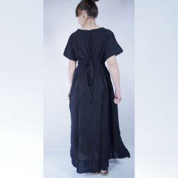 Sukienka indyjska bawełniana - długa z krótkim rękawem i koronką - czarna