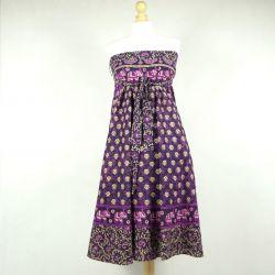 Spódnica indyjska  kopertowa - długa - fioletowa łąka
