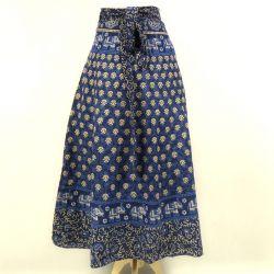 Spódnica indyjska  kopertowa - długa - granatowa łąka