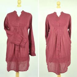Tunika indyjska bawełniana - długa - bordowa sukienka mini