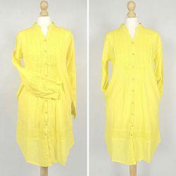 Tunika indyjska bawełniana - długa - żółta sukienka mini