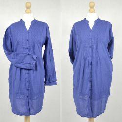 Tunika indyjska bawełniana - długa - niebieska sukienka mini