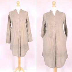 Tunika indyjska bawełniana - długa - beżowa sukienka