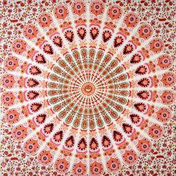 Obrus - makata - biała mandala - czerwony z różem