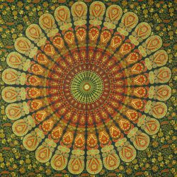 Obrus bawełniany - makata - zielona mandala
