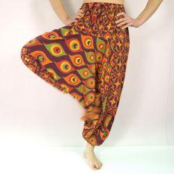 Spodnie - bawełniane szarawary - bordowa mandala z pawiami