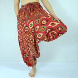 Spodnie - bawełniane szarawary - czerwona mandala w pawie pióra