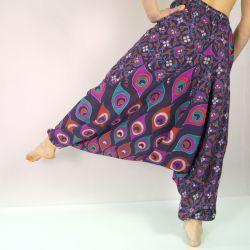 Spodnie - bawełniane szarawary - fioletowa mandala w pawie pióra