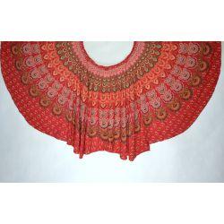 Spódnica z koła - indyjska kopertowa - czerwona z zielonym
