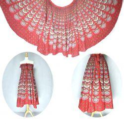 Spódnica z koła - indyjska kopertowa - czerwona z szarym