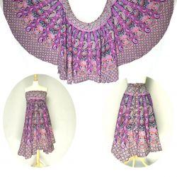 Spódnica z koła - indyjska kopertowa - fiolet z fuksją
