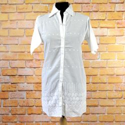 Tunika indyjska bawełniana - długa - koszula z haftem i koronką