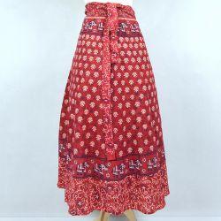 Spódnica indyjska  kopertowa - długa - czerwona łąka