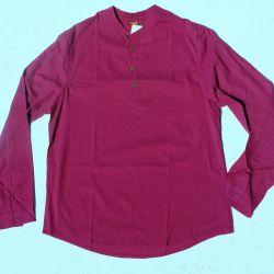Koszula męska ze stójką - botwinkowa bawełna