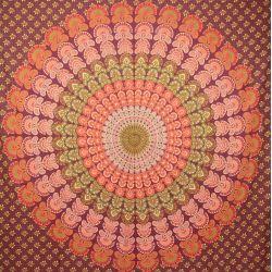 Narzuta bawełniana - makata - wiśniowa mandala