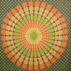 Narzuta bawełniana - makata - zielona mandala