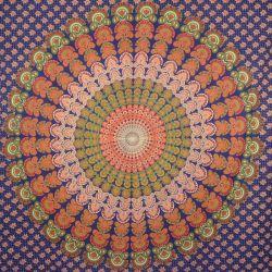 Narzuta bawełniana - makata - granatowa mandala