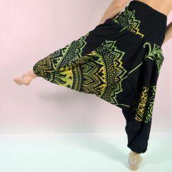 Spodnie - bawełniane szarawary - seledynowa mandala z szeroką gumą