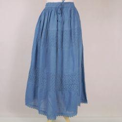 Spódnica z koronką i troczkiem - lazurowo - niebieska