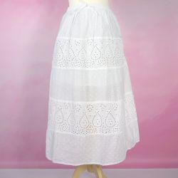 Spódnica z koronką haftem i troczkiem - biała