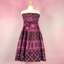 Spódnica indyjska  kopertowa - krótka - różowe kwiatki i paisley