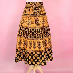 Spódnica indyjska  kopertowa - krótka - żółte kwiatki i paisley