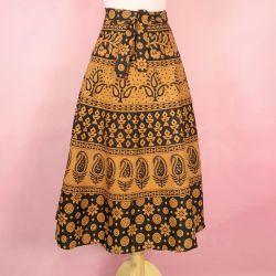 Spódnica indyjska  kopertowa - krótka - rude kwiatki i paisley