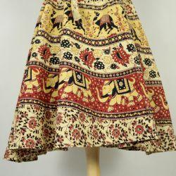Spódnica indyjska  kopertowa - krótka - żółte słonie